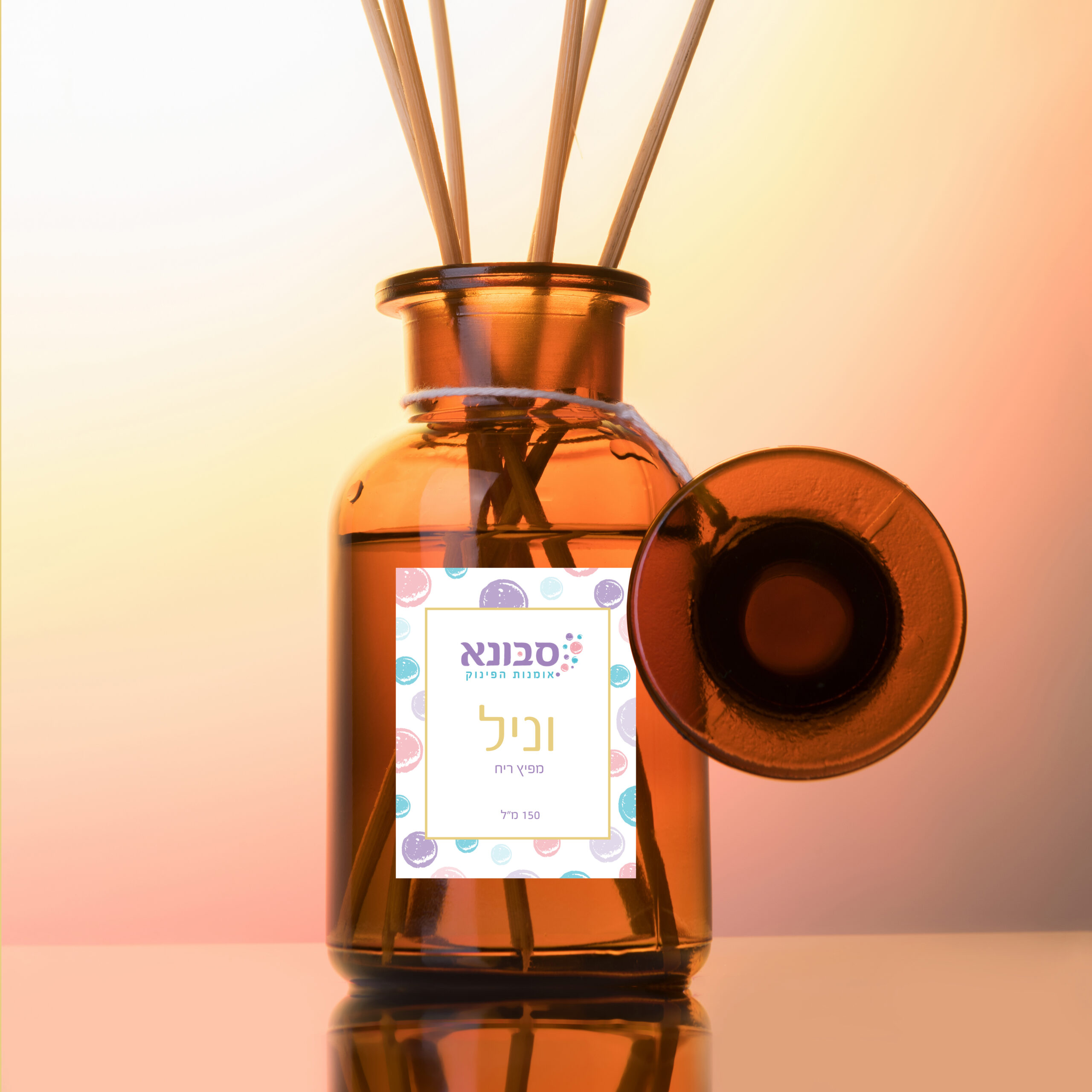 Air refresher bottle mock up, reed diffuser on a light rose gradiente background. Aromatherapy concept. Home fragrance bottle, european luxury house decor and interior design details